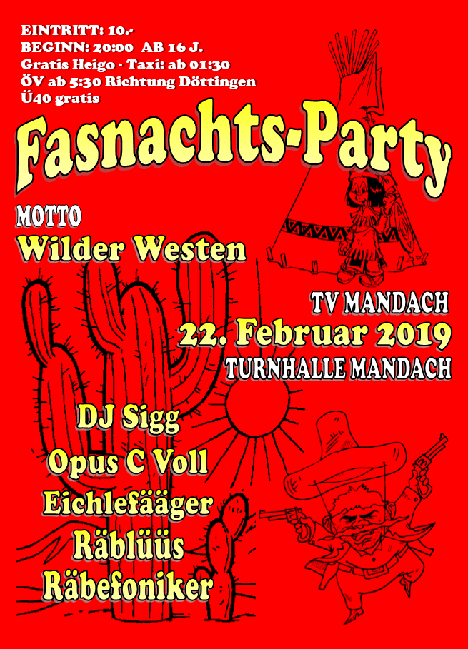 Flyer Fasnachtsparty 2019